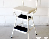 10% OFF Sale - Vintage White Cosco Step Stool and Chair - Mid-Century - Retro Mod Kitchen Decor