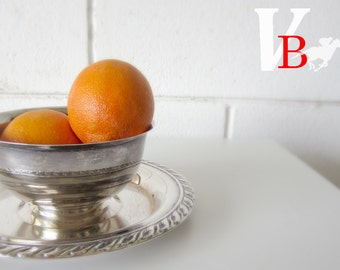 70% OFF Sale - Vintage Silver-plate Serving Tray and Bowl - Salsa, Shrimp Cocktail, Dips and Vegetables - Hostess Gift