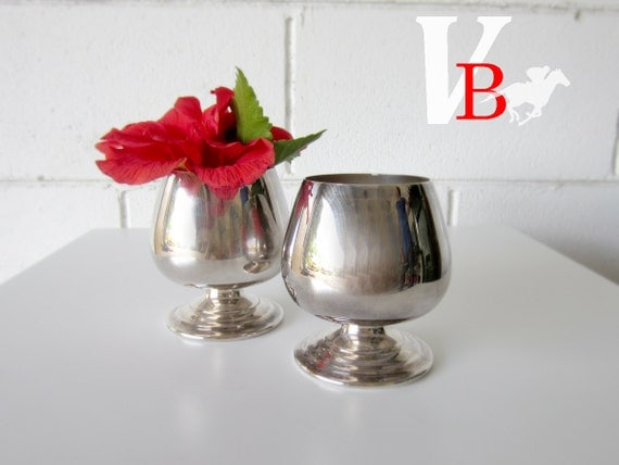 2 Vintage Silver-plate Cognac Goblets - Look great used as a Vase