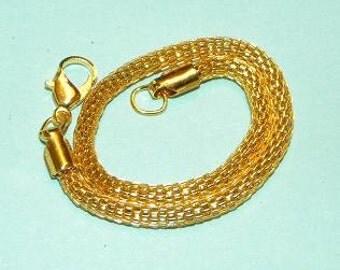 "European Style 7 1/2"" Mesh Bracelet Goldtone Charm Bracelet Fits European Charm Beads Lobster Claw Clasp Take 20% Off All Jewelry Supplies"