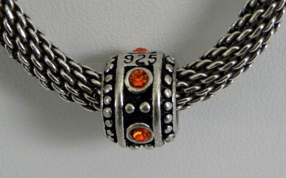 European Beads 925 Silver Autumn Orange Swarovski Crystal Charm Bead fits all European Style Bead Bracelets 5mm Hole Take 20% Off Supply