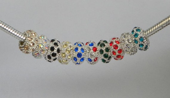 28 Assorted Colored Swarovski Crystal Charm Beads fits European Bracelets such as Pandora, Chamilia,  and Biagi