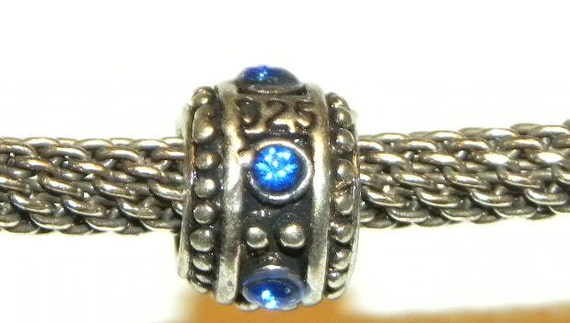 European Style 925 Sterling Silver and Sapphire Blue Swarovski Crystal Charm Bead fits all European Bracelets Large 5mm Hole