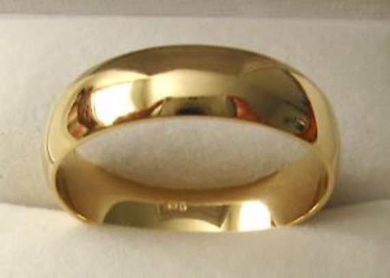 Yellow Gold 18k Plated Wedding Band Engagement Ring 5mm Wide Heavy Select Size