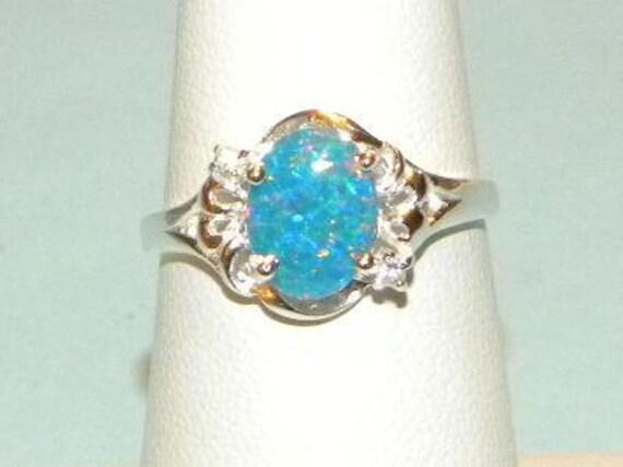 Australian Blue Fire Authentic Opal Ring Sterling Silver 925