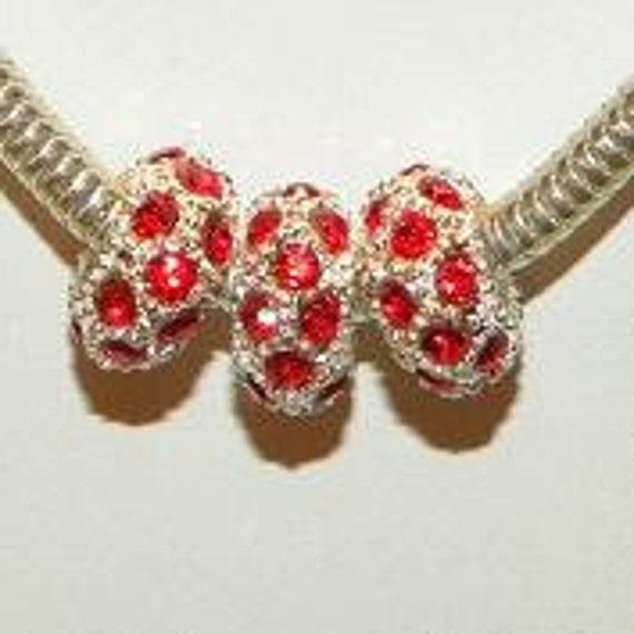 3 Ruby Red Swarovski Crystal Charm Beads fit all European Bracelets 11mm