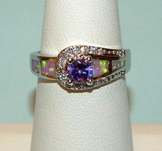 Genuine Amethyst and Australian Fire Opal Ring Sterling Silver 925 Band Size 7 Fabulous Flash