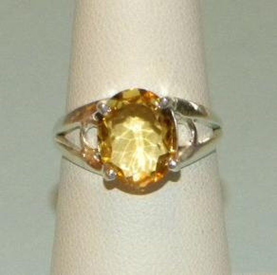 Genuine Champagne Yellow Citrine Ring 10x12mm Clean Oval Cut Sterling Silver 925 Band Size 7 1/4 Take 20% Off - sale20