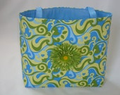 Large Women's Tote with Blue & Green Wave Design Embellished with Green Silk Flower