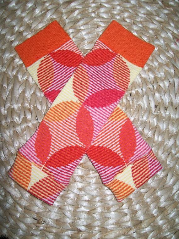 Newborn Baby Leg Warmers   Red Orange Yellow