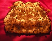Vintage Satin Beaded and Sequined Gold Clutch Purse, Atlantico Original, Hand Made in Hong Kong