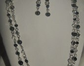 SALE Smoky Stone Beaded Chain Necklace and Earrings, Gift Set
