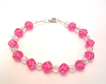 Hot Pink Dice and Crystal Ball Bracelet, Gamer Chic, Geek Style