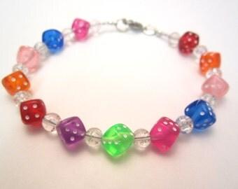 Rainbow Dice Bracelet, Gamer Chic, Geek Style