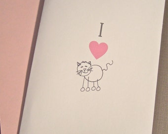 I 'Heart' Cat - Single Folded Card