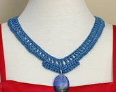 Crochet Necklace Summer Blue Glass Oval Dichroic Glass Pendant - 19  inch neck