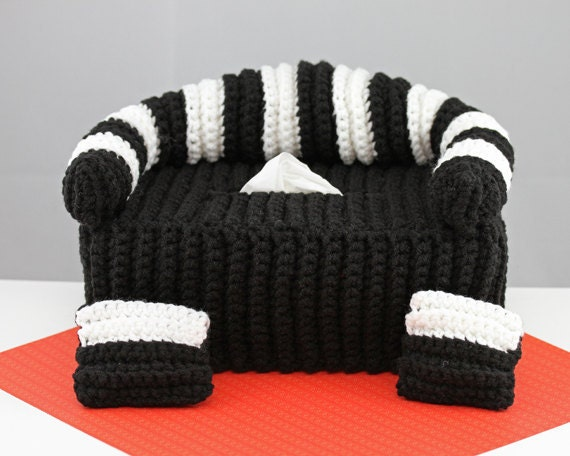 Free Crochet Pattern For Sofa Tissue Box Cover : Black White Striped Couch Crochet Tissue Box Cover with