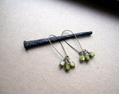 Curly Q Green Beaded Earrings