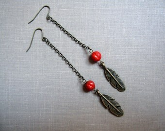 No. 43 Fiery Red Feather Chain Earrings