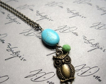 Autumn Owl and Turquoise Chunk Necklace