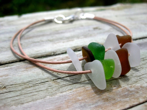 Hawaiian Emerald Green, Lime Green, Amber Brown, and Clear Beach Glass on India Leather Cord, completely adjustable, Bracelet