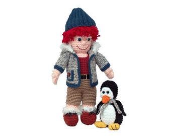 "PDF Amigurumi Pattern Crochet Doll Pattern - Crochet Penquin Pattern 18"" Truett Doll & Penny Penguin - PDF Pattern (7407)"