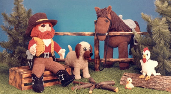 PDF Amigurumi Cowboy -  Crochet Horse Pattern - Crochet Cowboy and Horse (7236) Td Creations