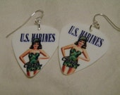 Marine Pin-Up Girl Guitar Pick Earrings