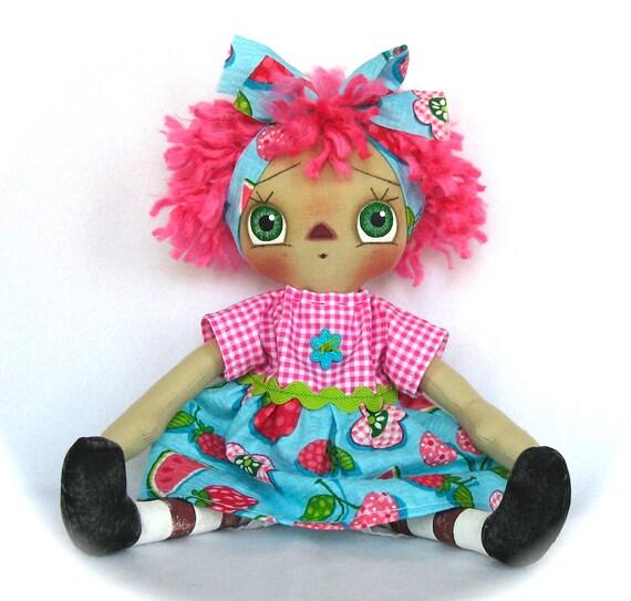 Primitive Raggedy Ann Doll-Pink