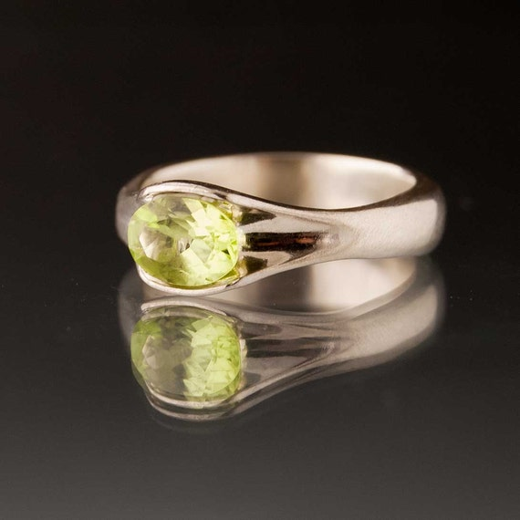 Oval Peridot Solitaire Engagement Ring, sterling silver
