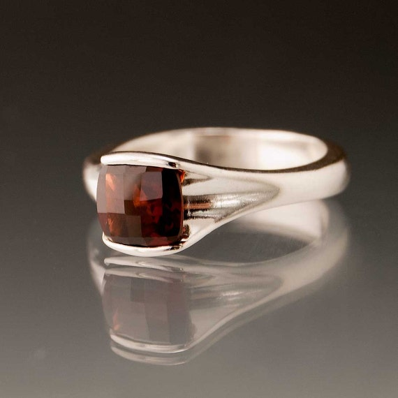 Garnet Engagement Ring Solitaire Checkerboard Cushion in Sterling Silver