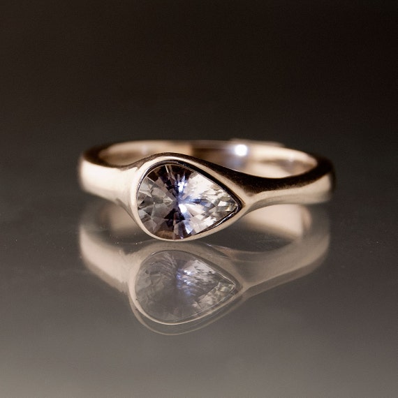 Gray Blue Tear Drop Tanzanite Engagement Ring in