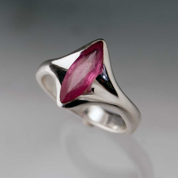 Marquise Pink Ruby Engagement Ring in Sterling Silver, Pink Sapphire Ring