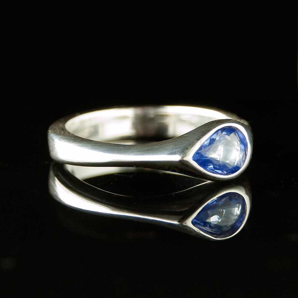 Tear Drop Tanzanite Engagement Ring in Silver