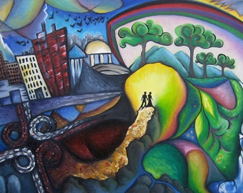 Surreal Expressionist Original oil painting on canvas, 36 x 24, The Path Between City and Country, by Tiffany Davis-Rustam