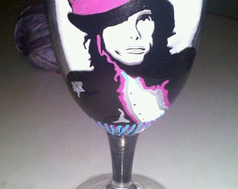 Steven Tyler Joe Perry Aerosmith hand painted glass cups wine glass