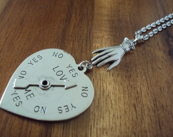 SALE ITEM Love Me Yes No Spinner Necklace - with Victorian hand on silver plated chain