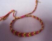 Adjustable Brown Pink and Yellow Chevron Friendship Bracelet