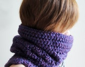 Hand Crocheted Chunky Neckwarmer in Purple, Winter Cowl, Slouchy Pom Pom Hat, Multi Use Winter Accessories