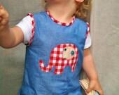 Baby girl elephant applique denim dress & onesie giftset