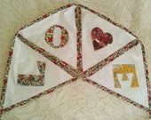 LOVE Valentine bunting decoration vintage style Liberty print