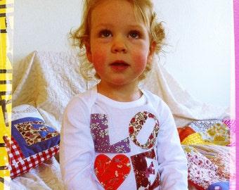 Baby girl Liberty LOVE appliqued onesie babygro