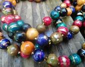 multicolored lucite bead necklace in autumn tones