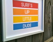 CUSTOM COLORS - Printable Wall Art - Surf's Up Little Dude -amy patrick prints