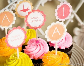 CUSTOM - Printable Cupcake Toppers - Paper Crane Party - amy patrick prints