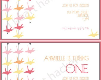 Printable Party Invitations - Paper Crane Party - amy patrick prints