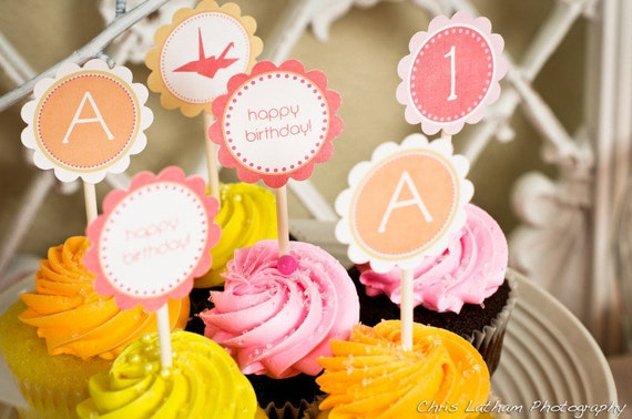 CUSTOM Printable Cupcake Toppers - amy patrick prints (you choose font and colors)