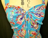 Super Rare 1940's Rayon Mexican Mask Printed Rayon Dress & Bolero