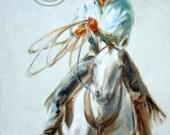 Cowboy on White Horse