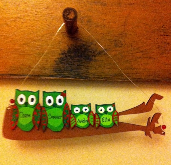 Personalized Christmas ornament, family of owls